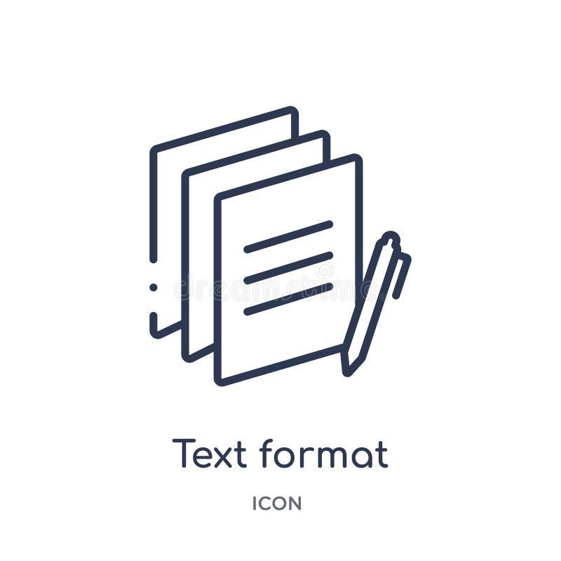Γραμμικό εικονίδιο σχήματος κειμένων από την ικανοποιημένη συλλογή περιλήψεων Λεπτό διάνυσμα σχήματος κειμένων γραμμών που απομον ελεύθερη απεικόνιση δικαιώματος