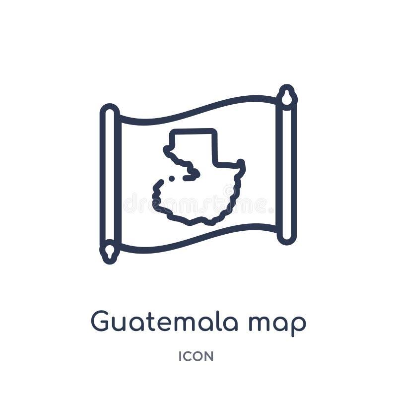Γραμμικό εικονίδιο χαρτών της Γουατεμάλα από τη συλλογή περιλήψεων Countrymaps Λεπτό διάνυσμα χαρτών της Γουατεμάλα γραμμών που α διανυσματική απεικόνιση