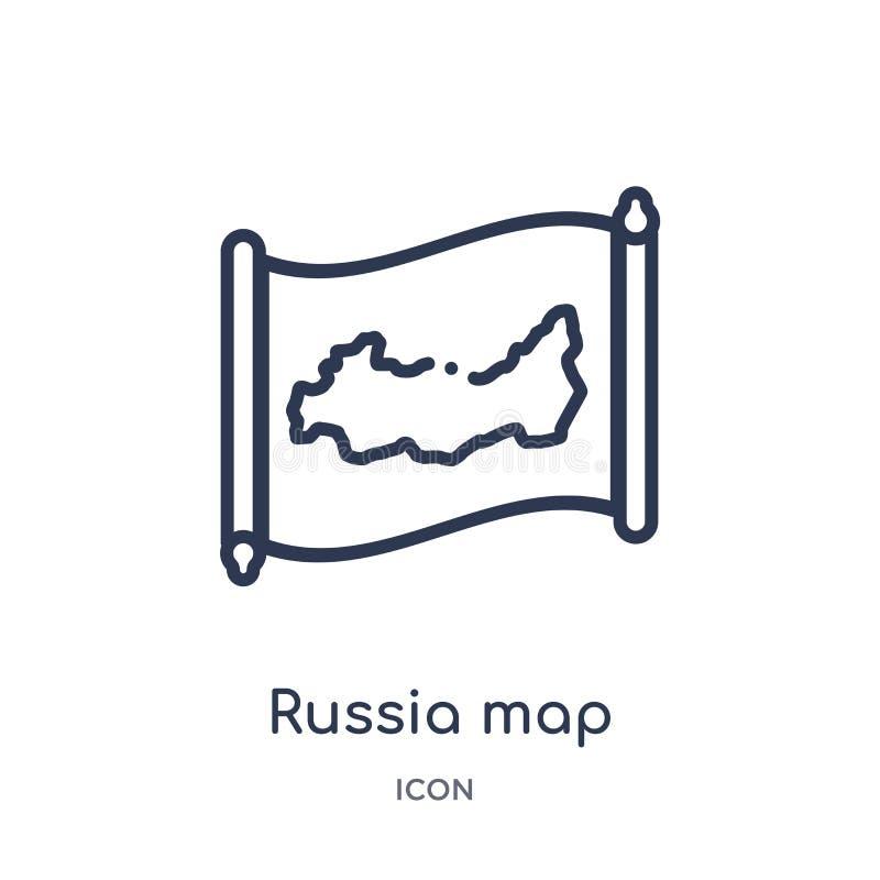 Γραμμικό εικονίδιο χαρτών της Ρωσίας από τη συλλογή περιλήψεων Countrymaps Λεπτό διάνυσμα χαρτών της Ρωσίας γραμμών που απομονώνε ελεύθερη απεικόνιση δικαιώματος