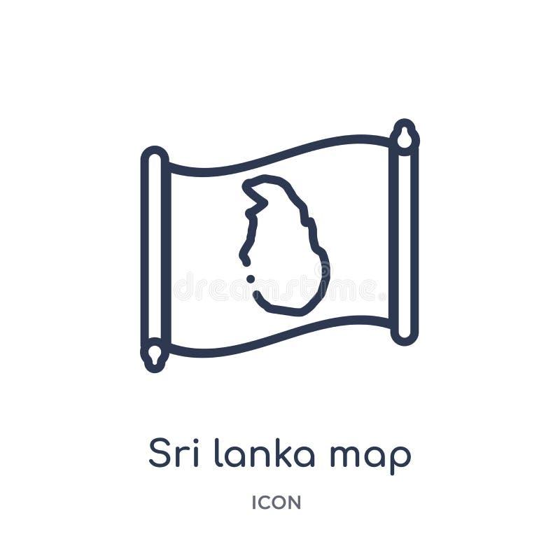 Γραμμικό εικονίδιο χαρτών της Σρι Λάνκα από τη συλλογή περιλήψεων Countrymaps Λεπτό διάνυσμα χαρτών της Σρι Λάνκα γραμμών που απο απεικόνιση αποθεμάτων