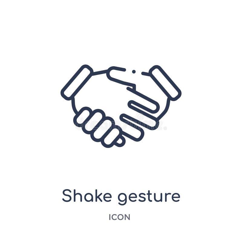 Γραμμικό εικονίδιο χειρονομίας κουνημάτων από τη συλλογή περιλήψεων χεριών και guestures Λεπτό εικονίδιο χειρονομίας κουνημάτων γ απεικόνιση αποθεμάτων