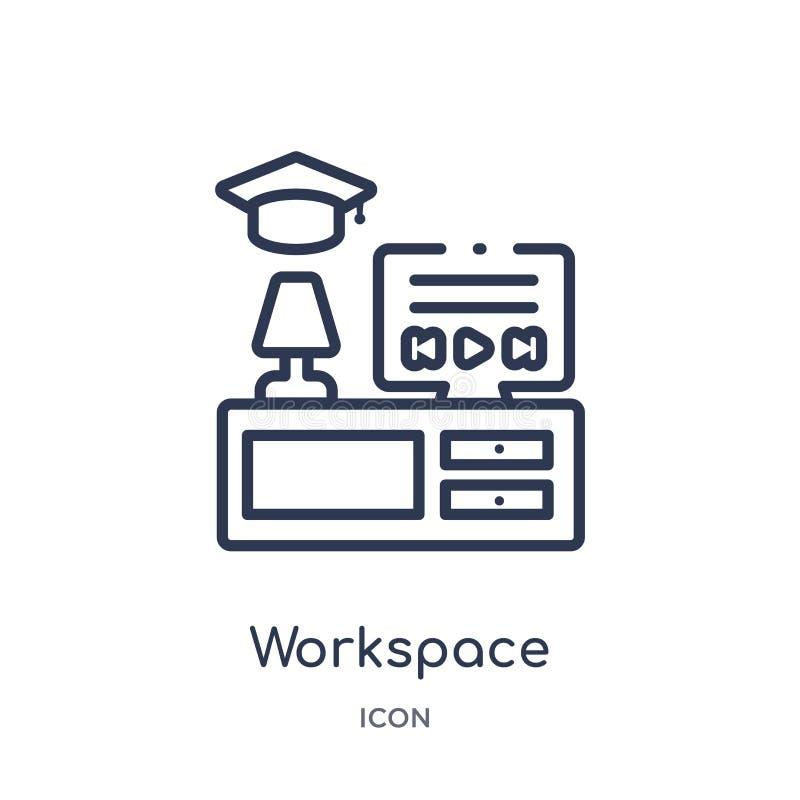 Γραμμικό εικονίδιο χώρου εργασίας από τη συλλογή περιλήψεων Elearning και εκπαίδευσης Λεπτό διάνυσμα χώρου εργασίας γραμμών που α διανυσματική απεικόνιση