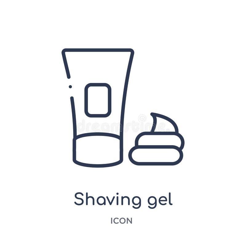 Γραμμικό εικονίδιο πηκτωμάτων ξυρίσματος από τη συλλογή περιλήψεων υγιεινής Λεπτό εικονίδιο πηκτωμάτων ξυρίσματος γραμμών που απο ελεύθερη απεικόνιση δικαιώματος