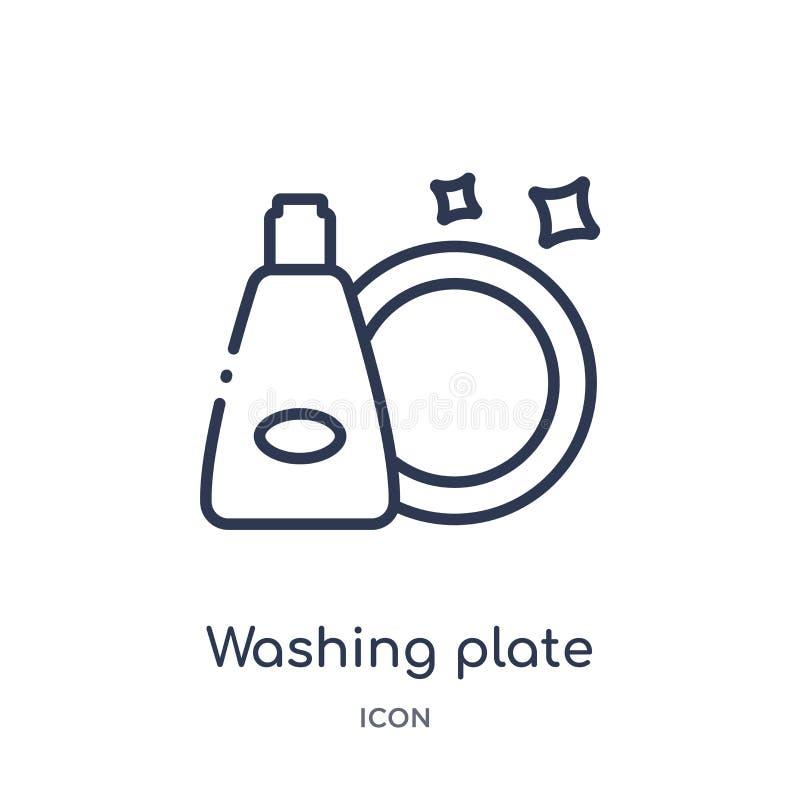 Γραμμικό εικονίδιο πιάτων πλύσης από τη συλλογή περιλήψεων καθαρισμού Λεπτό διάνυσμα πιάτων πλύσης γραμμών που απομονώνεται στο ά απεικόνιση αποθεμάτων