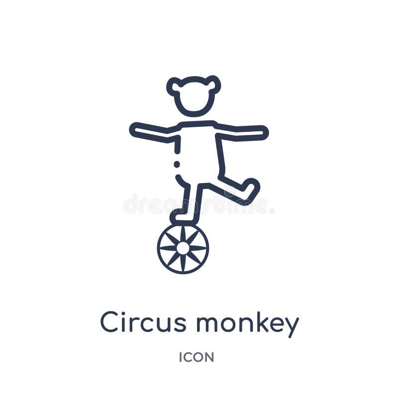 Γραμμικό εικονίδιο πιθήκων τσίρκων από τη συλλογή περιλήψεων τσίρκων Λεπτό διάνυσμα πιθήκων τσίρκων γραμμών που απομονώνεται στο  ελεύθερη απεικόνιση δικαιώματος