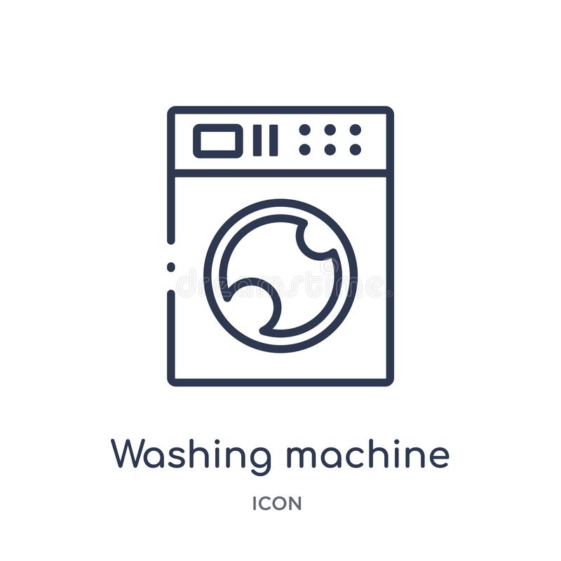Γραμμικό εικονίδιο πλυντηρίων cleanin από τη συλλογή περιλήψεων καθαρισμού Λεπτό διάνυσμα πλυντηρίων γραμμών cleanin που απομονών απεικόνιση αποθεμάτων