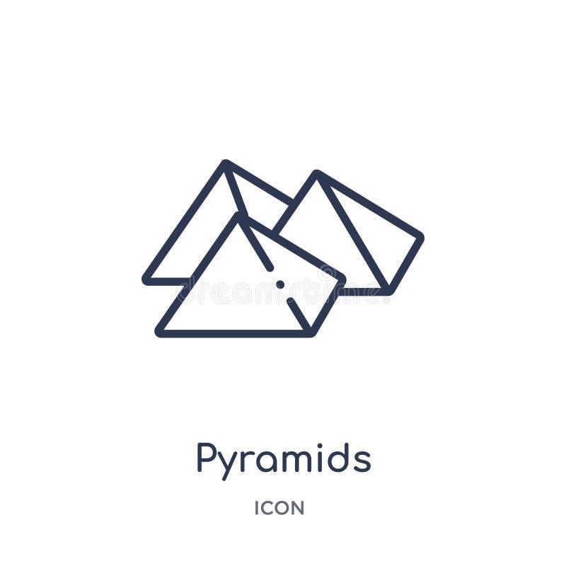 Γραμμικό εικονίδιο πυραμίδων από τη συλλογή περιλήψεων της Αφρικής Λεπτό διάνυσμα πυραμίδων γραμμών που απομονώνεται στο άσπρο υπ απεικόνιση αποθεμάτων