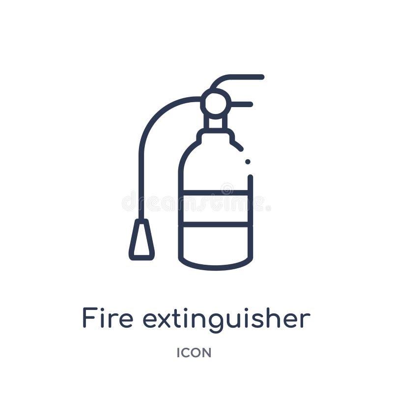 Γραμμικό εικονίδιο πυροσβεστήρων από τη συλλογή περιλήψεων ξενοδοχείων Λεπτό εικονίδιο πυροσβεστήρων γραμμών που απομονώνεται στο διανυσματική απεικόνιση