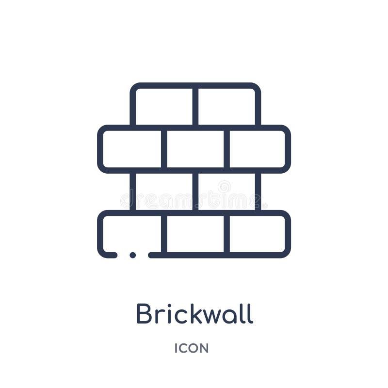 Γραμμικό εικονίδιο brickwall από τη συλλογή περιλήψεων κατασκευής Λεπτό διάνυσμα γραμμών brickwall που απομονώνεται στο άσπρο υπό διανυσματική απεικόνιση