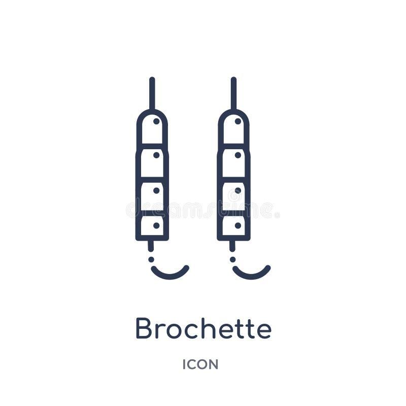 Γραμμικό εικονίδιο brochette από τη συλλογή περιλήψεων τροφίμων Λεπτό εικονίδιο brochette γραμμών που απομονώνεται στο άσπρο υπόβ διανυσματική απεικόνιση