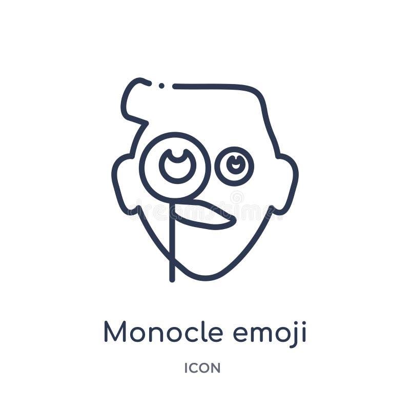 Γραμμικό εικονίδιο emoji μονόκλ από τη συλλογή περιλήψεων Emoji Λεπτό διάνυσμα emoji μονόκλ γραμμών που απομονώνεται στο άσπρο υπ ελεύθερη απεικόνιση δικαιώματος