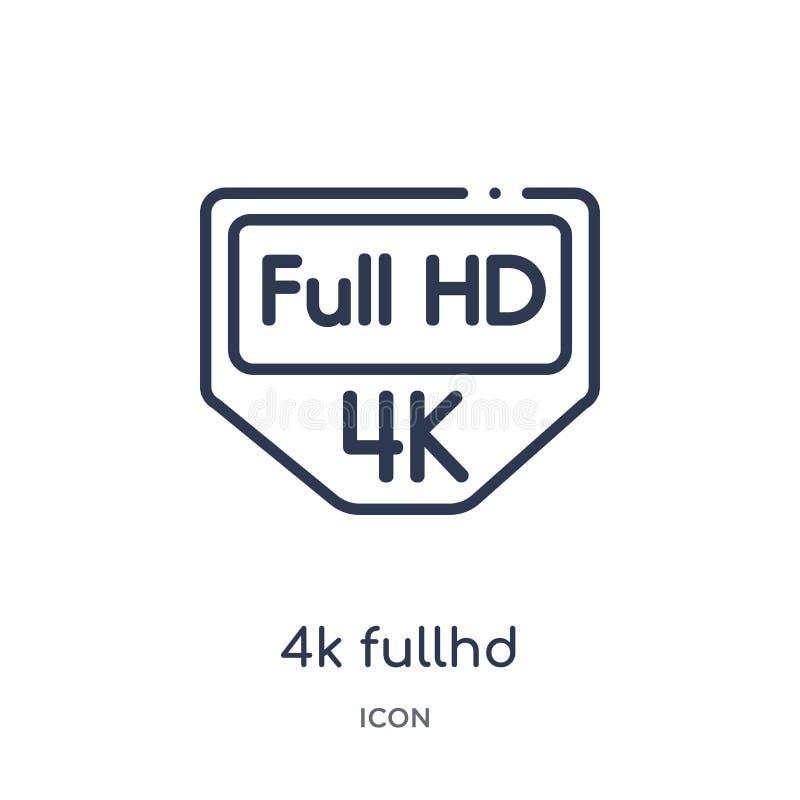 Γραμμικό εικονίδιο 4k fullhd από τη συλλογή περιλήψεων κινηματογράφων Λεπτό διάνυσμα γραμμών 4k fullhd που απομονώνεται στο άσπρο ελεύθερη απεικόνιση δικαιώματος
