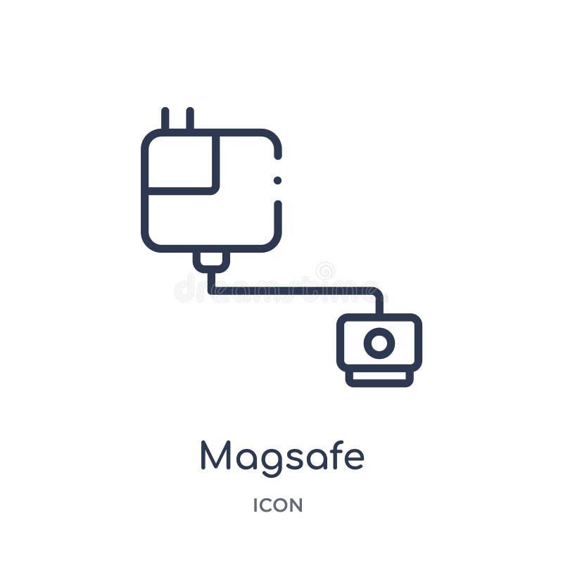 Γραμμικό εικονίδιο magsafe από τη συλλογή περιλήψεων ηλεκτρονικών συσκευών Λεπτό διάνυσμα γραμμών magsafe που απομονώνεται στο άσ απεικόνιση αποθεμάτων