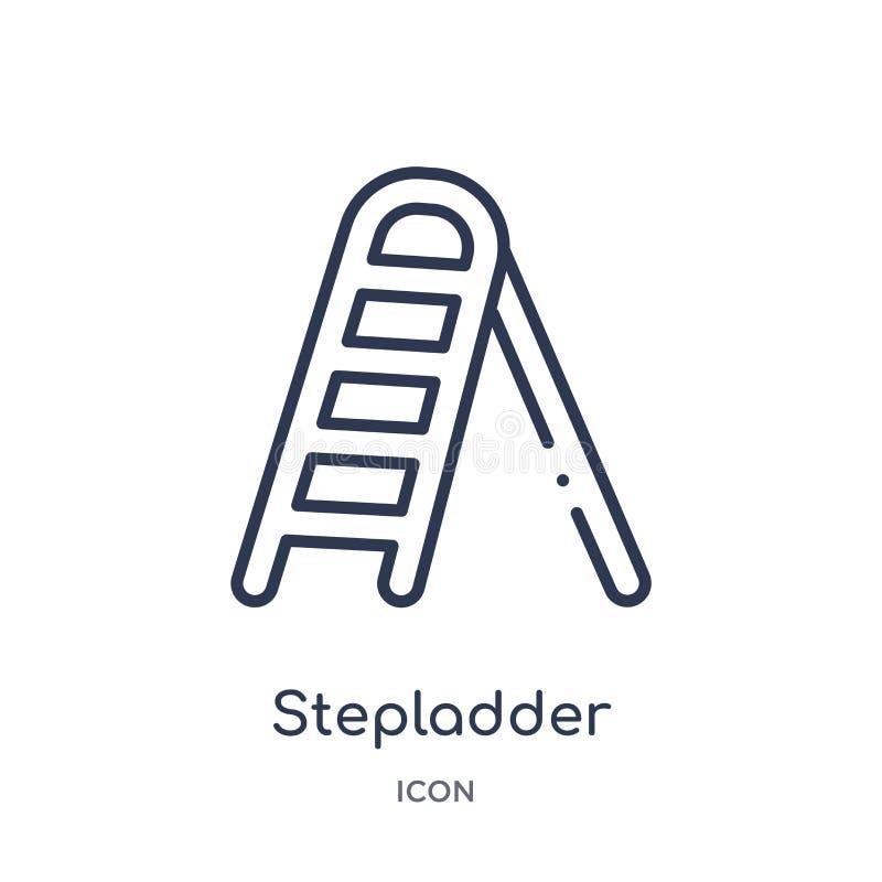 Γραμμικό εικονίδιο stepladder από τη γενική συλλογή περιλήψεων Λεπτό εικονίδιο γραμμών stepladder που απομονώνεται στο άσπρο υπόβ απεικόνιση αποθεμάτων