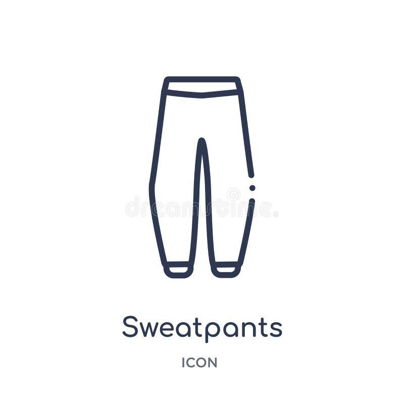Γραμμικό εικονίδιο sweatpants από τη συλλογή περιλήψεων ενδυμάτων Λεπτό διάνυσμα γραμμών sweatpants που απομονώνεται στο άσπρο υπ ελεύθερη απεικόνιση δικαιώματος