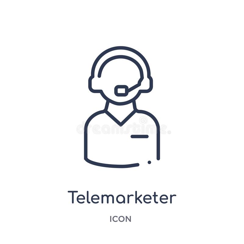 Γραμμικό εικονίδιο telemarketer από τη συλλογή περιλήψεων εξυπηρέτησης πελατών Λεπτό διάνυσμα γραμμών telemarketer που απομονώνετ διανυσματική απεικόνιση