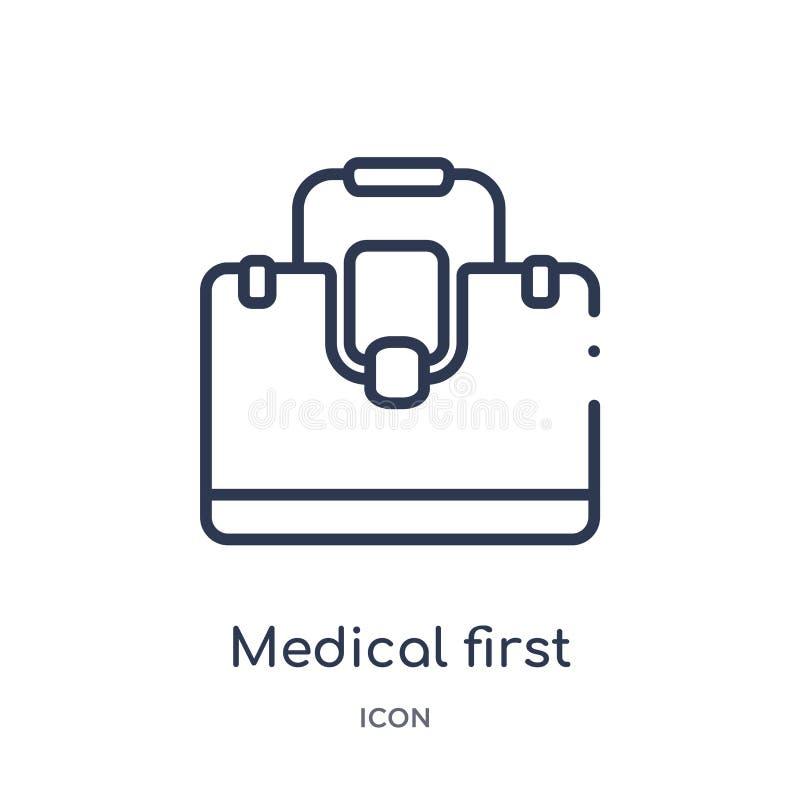 Γραμμικό ιατρικό εικονίδιο εξαρτήσεων πρώτων βοηθειών από την ιατρική συλλογή περιλήψεων Λεπτό εικονίδιο εξαρτήσεων πρώτων βοηθει διανυσματική απεικόνιση