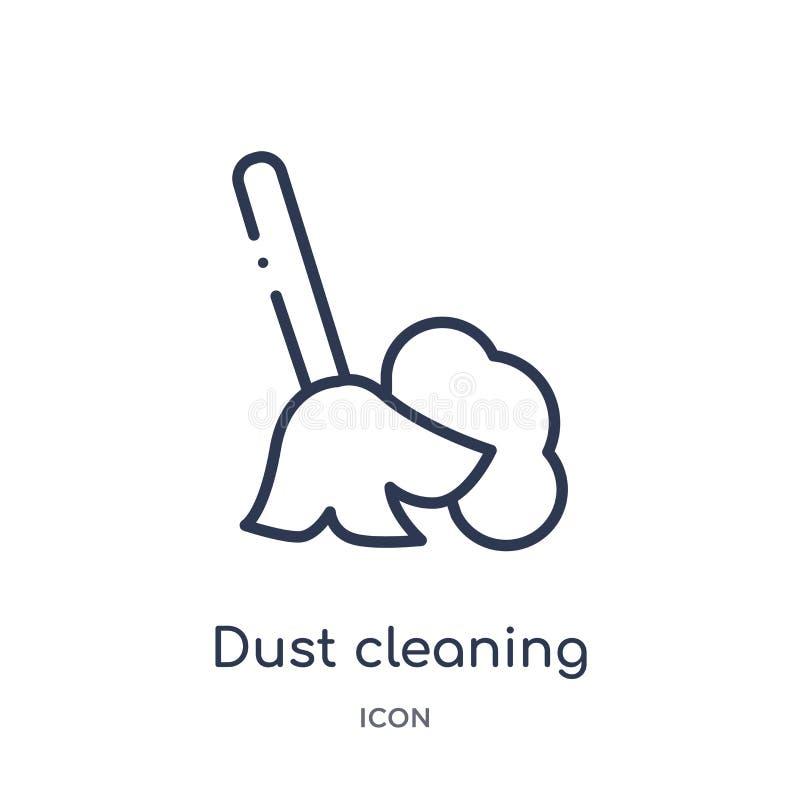 Γραμμικό καθαρίζοντας εικονίδιο σκόνης από τη συλλογή περιλήψεων υγιεινής Λεπτό καθαρίζοντας εικονίδιο σκόνης γραμμών που απομονώ ελεύθερη απεικόνιση δικαιώματος