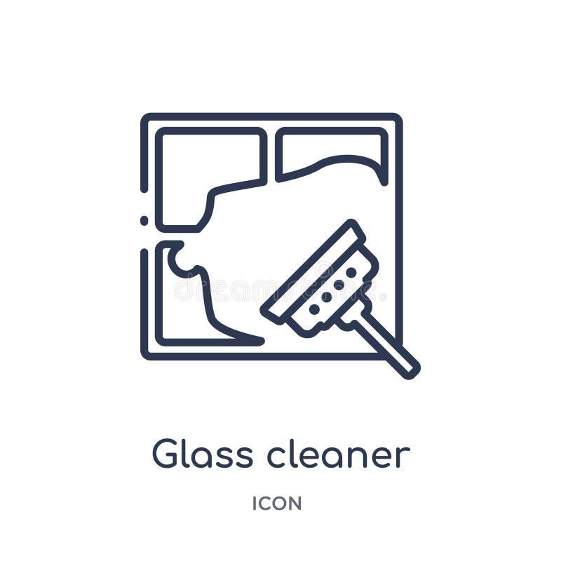 Γραμμικό καθαρότερο εικονίδιο γυαλιού από τη συλλογή περιλήψεων καθαρισμού Λεπτό καθαρότερο διάνυσμα γυαλιού γραμμών που απομονών διανυσματική απεικόνιση
