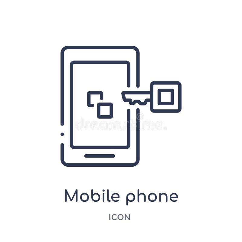 Γραμμικό κινητό εικονίδιο τηλεφωνικής ασφάλειας από την ασφάλεια Διαδικτύου και τη συλλογή περιλήψεων δικτύωσης Λεπτό εικονίδιο τ απεικόνιση αποθεμάτων