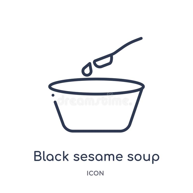Γραμμικό μαύρο εικονίδιο σούπας σουσαμιού από τη συλλογή περιλήψεων τροφίμων και εστιατορίων Λεπτό εικονίδιο σούπας σουσαμιού γρα ελεύθερη απεικόνιση δικαιώματος