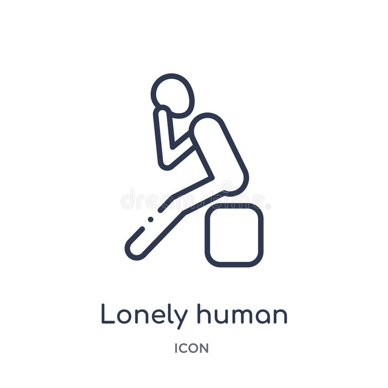 Γραμμικό μόνο ανθρώπινο εικονίδιο από τη συλλογή περιλήψεων συναισθημάτων Λεπτό μόνο ανθρώπινο διάνυσμα γραμμών που απομονώνεται  ελεύθερη απεικόνιση δικαιώματος