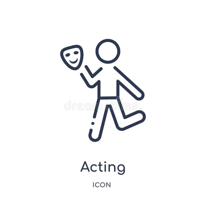 Γραμμικό να ενεργήσει εικονίδιο από τη συλλογή δραστηριότητας και περιλήψεων χόμπι Λεπτό να ενεργήσει γραμμών διάνυσμα που απομον διανυσματική απεικόνιση