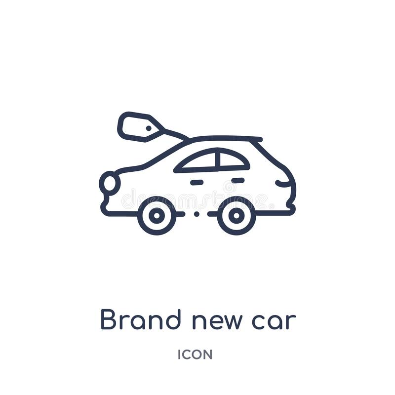 Γραμμικό ολοκαίνουργιο αυτοκίνητο με το εικονίδιο τιμών δολαρίων από τη συλλογή περιλήψεων Mechanicons Λεπτό ολοκαίνουργιο αυτοκί διανυσματική απεικόνιση