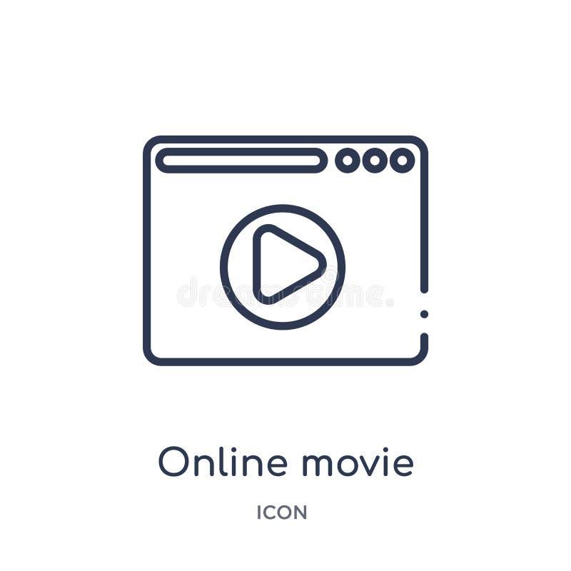 Γραμμικό σε απευθείας σύνδεση εικονίδιο κινηματογράφων από τη συλλογή περιλήψεων κινηματογράφων Λεπτό διάνυσμα κινηματογράφων γρα ελεύθερη απεικόνιση δικαιώματος