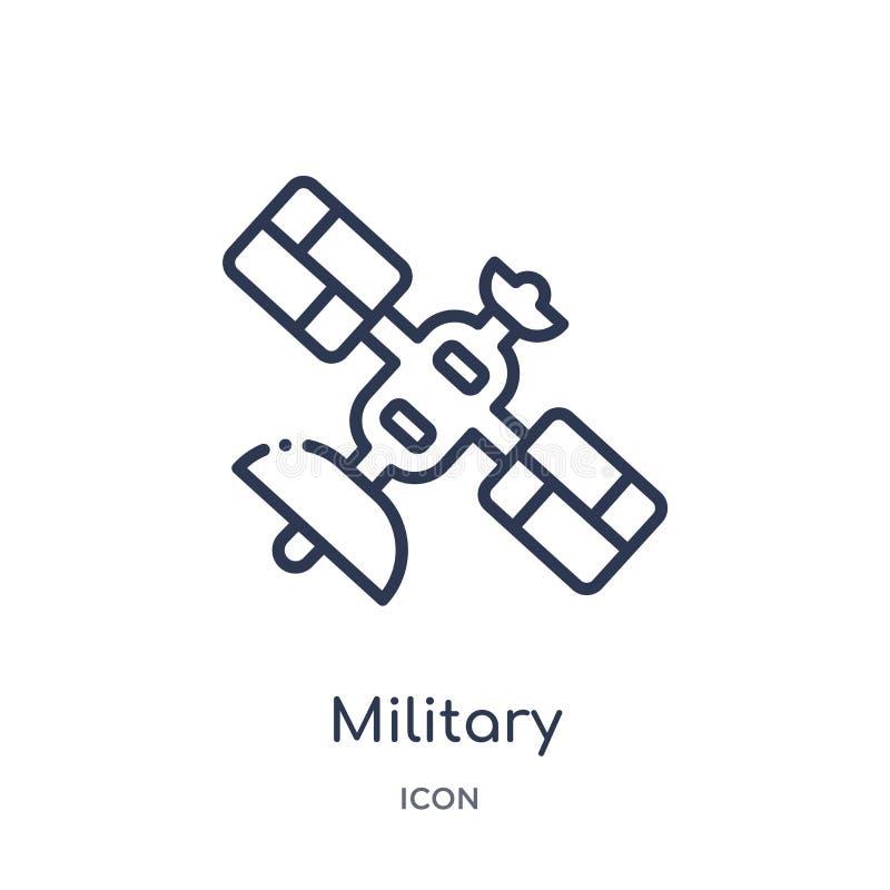 Γραμμικό στρατιωτικό εικονίδιο δορυφόρων από το στρατό και τη συλλογή πολεμικών περιλήψεων Λεπτό διάνυσμα δορυφόρων γραμμών στρατ απεικόνιση αποθεμάτων