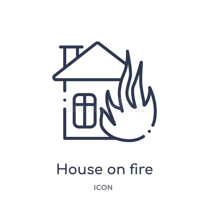 Γραμμικό σπίτι στο εικονίδιο πυρκαγιάς από τη συλλογή περιλήψεων μετεωρολογίας Λεπτό σπίτι γραμμών στο εικονίδιο πυρκαγιάς που απ απεικόνιση αποθεμάτων