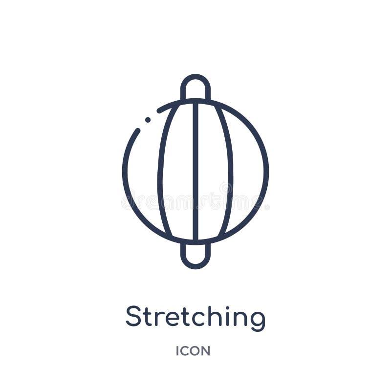 Γραμμικό τεντώνοντας punching εικονίδιο σφαιρών από τη γυμναστική και τη συλλογή περιλήψεων ικανότητας Λεπτό punching γραμμών τεν απεικόνιση αποθεμάτων