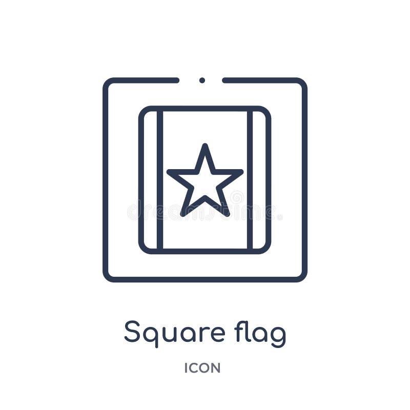 Γραμμικό τετραγωνικό εικονίδιο σημαιών από τη συλλογή περιλήψεων χαρτών και σημαιών Λεπτό εικονίδιο σημαιών γραμμών τετραγωνικό π διανυσματική απεικόνιση