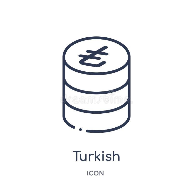 Γραμμικό τουρκικό εικονίδιο από τη συλλογή περιλήψεων εμπορίου Λεπτό τουρκικό εικονίδιο γραμμών που απομονώνεται στο άσπρο υπόβαθ απεικόνιση αποθεμάτων