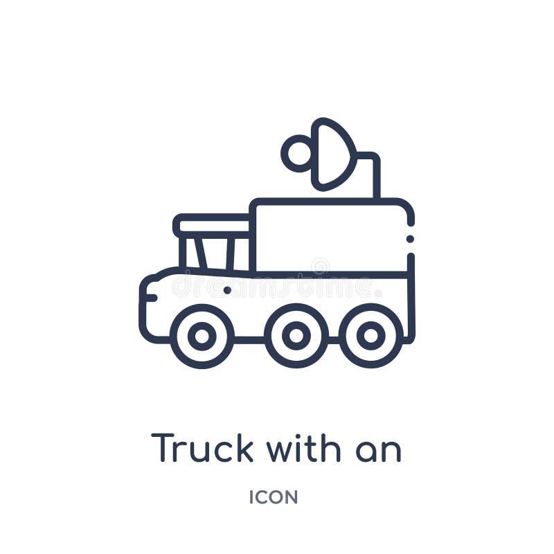 Γραμμικό φορτηγό με μια κεραία σε το εικονίδιο από τη συλλογή περιλήψεων Mechanicons Λεπτό φορτηγό γραμμών με μια κεραία σε το ει απεικόνιση αποθεμάτων