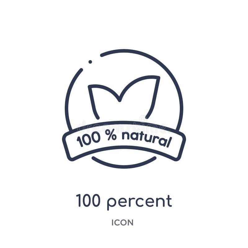Γραμμικό φυσικό εικονίδιο 100 τοις εκατό από τη συλλογή περιλήψεων οικολογίας Λεπτή γραμμή φυσικό διάνυσμα 100 τοις εκατό που απο απεικόνιση αποθεμάτων