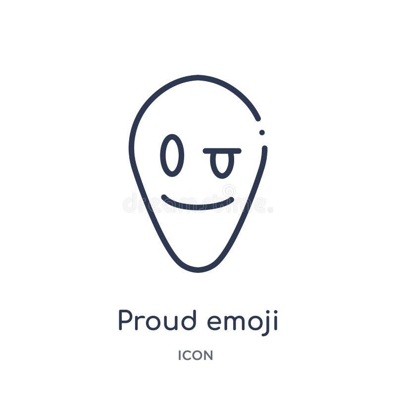Γραμμικό υπερήφανο εικονίδιο emoji από τη συλλογή περιλήψεων Emoji Λεπτό διάνυσμα emoji γραμμών υπερήφανο που απομονώνεται στο άσ διανυσματική απεικόνιση