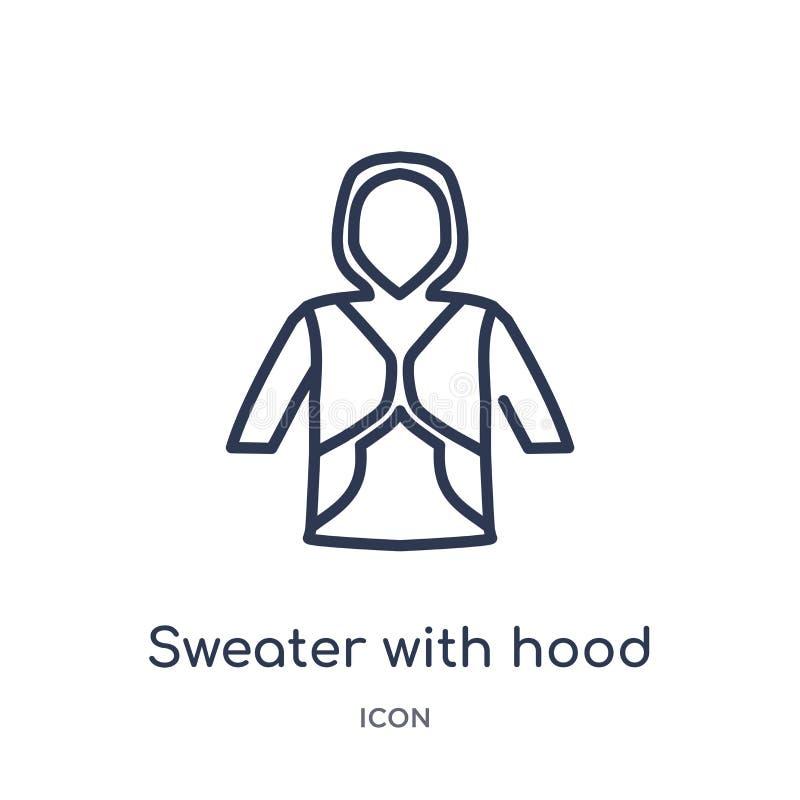 Γραμμικό πουλόβερ με το εικονίδιο κουκουλών από τη συλλογή περιλήψεων μόδας Λεπτό πουλόβερ γραμμών με το εικονίδιο κουκουλών που  ελεύθερη απεικόνιση δικαιώματος