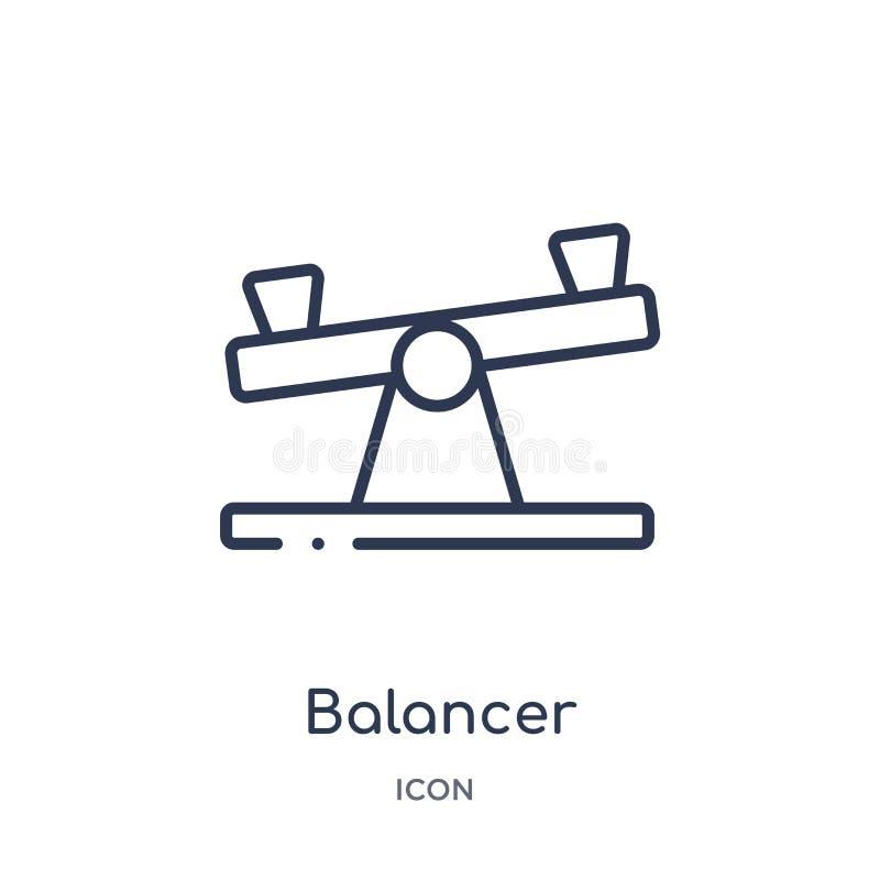 Γραμμικό balancer εικονίδιο από τη γενική συλλογή περιλήψεων Λεπτό balancer γραμμών εικονίδιο που απομονώνεται στο άσπρο υπόβαθρο διανυσματική απεικόνιση