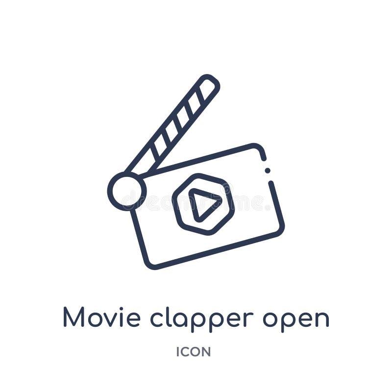 Γραμμικό clapper κινηματογράφων ανοικτό εικονίδιο από τη συλλογή περιλήψεων κινηματογράφων Λεπτό clapper κινηματογράφων γραμμών α διανυσματική απεικόνιση