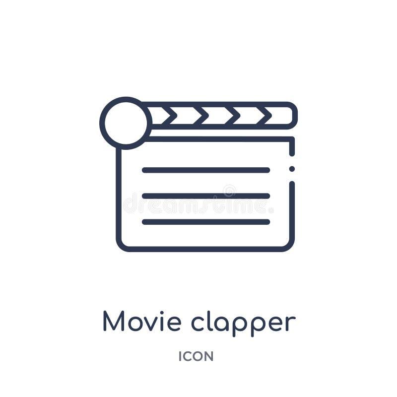 Γραμμικό clapper κινηματογράφων εικονίδιο από τη συλλογή περιλήψεων κινηματογράφων Λεπτό clapper κινηματογράφων γραμμών εικονίδιο ελεύθερη απεικόνιση δικαιώματος