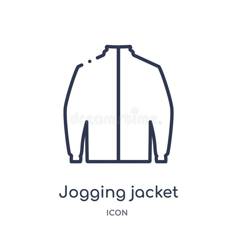 Γραμμικό jogging εικονίδιο σακακιών από τη συλλογή περιλήψεων ενδυμάτων Λεπτό διάνυσμα σακακιών γραμμών jogging που απομονώνεται  απεικόνιση αποθεμάτων