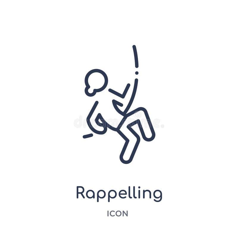 Γραμμικό rappelling εικονίδιο από τη συλλογή δραστηριότητας και περιλήψεων χόμπι Λεπτό rappelling διάνυσμα γραμμών που απομονώνετ απεικόνιση αποθεμάτων