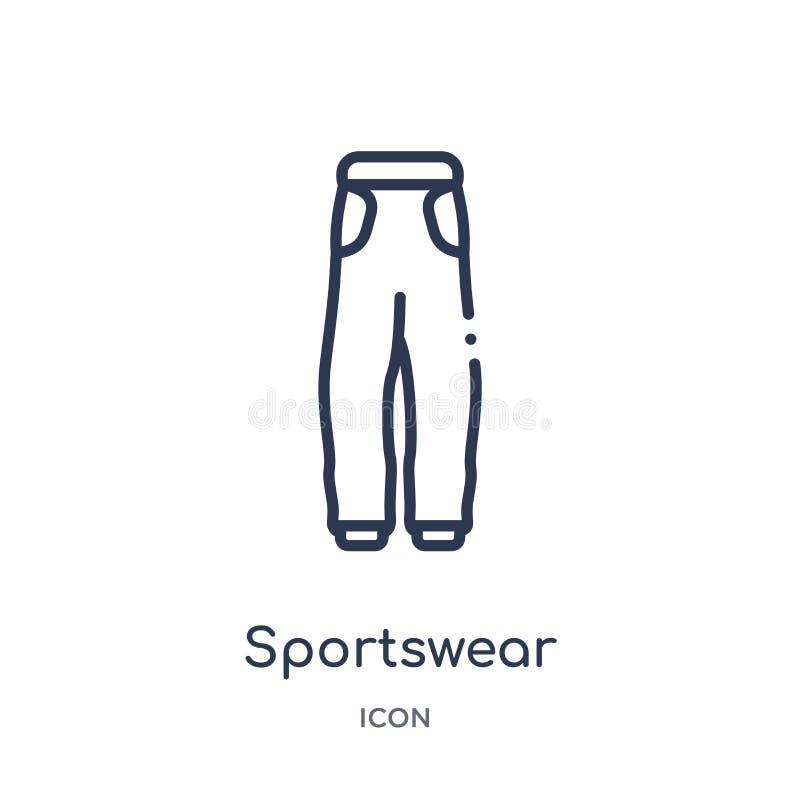 Γραμμικό sportswear εικονίδιο από τη συλλογή περιλήψεων μόδας Λεπτό sportswear γραμμών εικονίδιο που απομονώνεται στο άσπρο υπόβα διανυσματική απεικόνιση