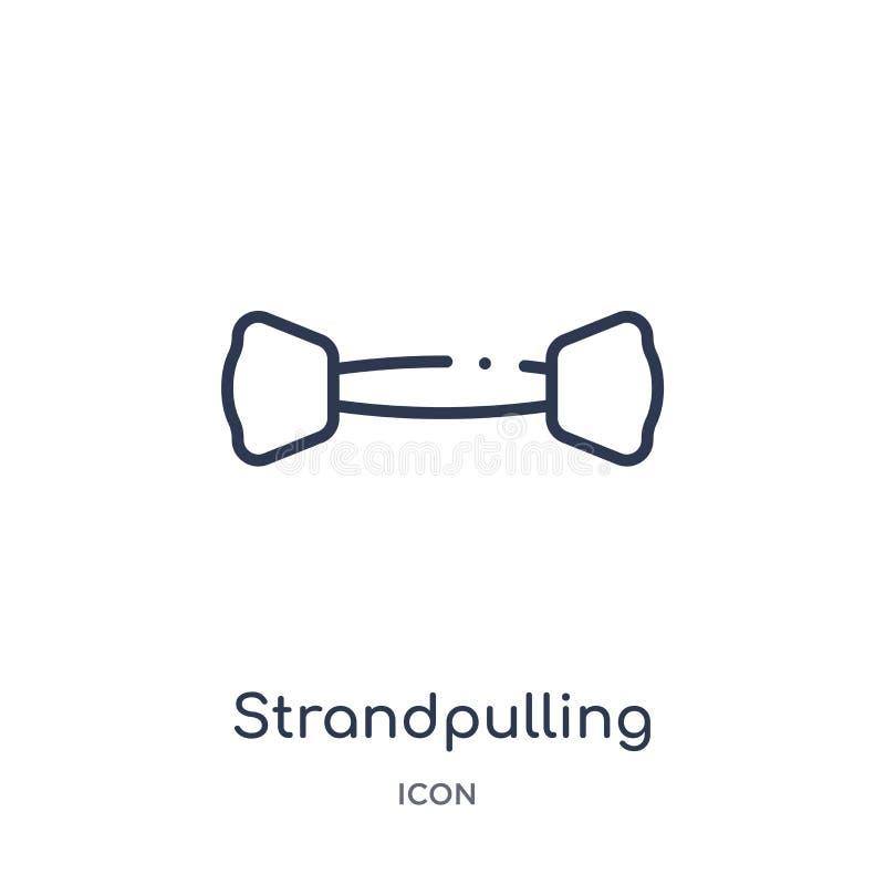 Γραμμικό strandpulling εικονίδιο από τη γυμναστική και τη συλλογή περιλήψεων ικανότητας Λεπτό strandpulling εικονίδιο γραμμών που απεικόνιση αποθεμάτων