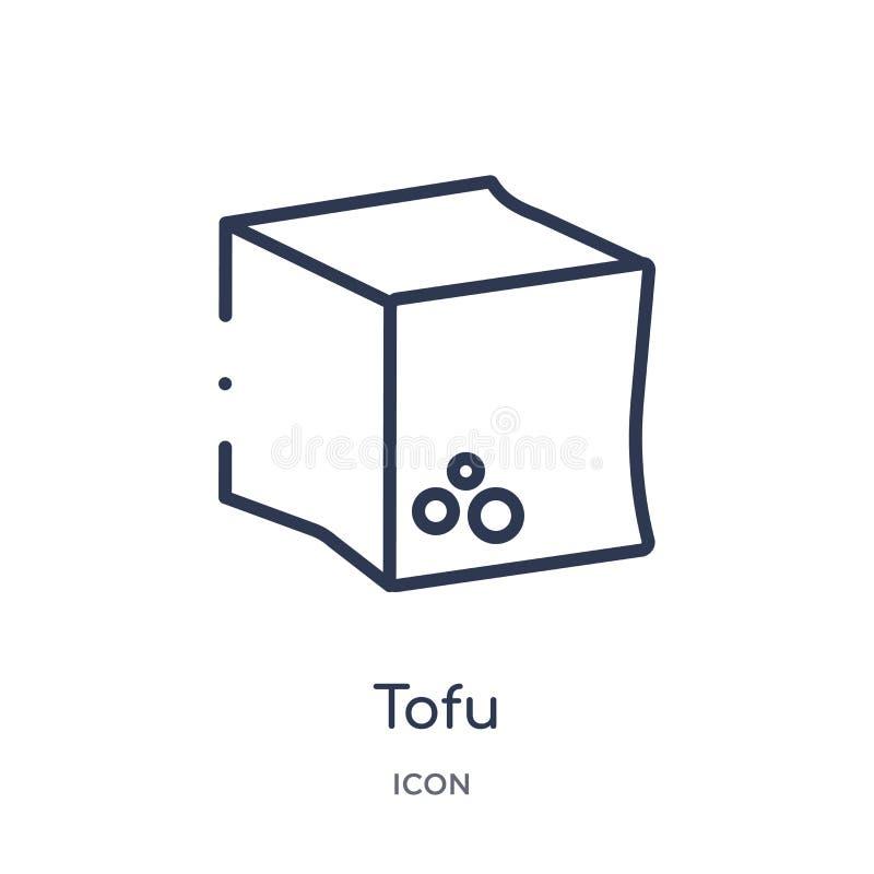 Γραμμικό tofu εικονίδιο από τη συλλογή περιλήψεων τροφίμων και εστιατορίων Λεπτό tofu γραμμών εικονίδιο που απομονώνεται στο άσπρ απεικόνιση αποθεμάτων