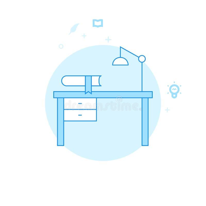 Γραφείο συγγραφέα, επίπεδη διανυσματική απεικόνιση εργασιακών χώρων, εικονίδιο Ανοικτό μπλε μονοχρωματικό σχέδιο Κτύπημα Editable ελεύθερη απεικόνιση δικαιώματος