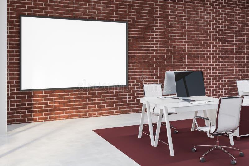Γραφείο τούβλου με το whiteboard διανυσματική απεικόνιση