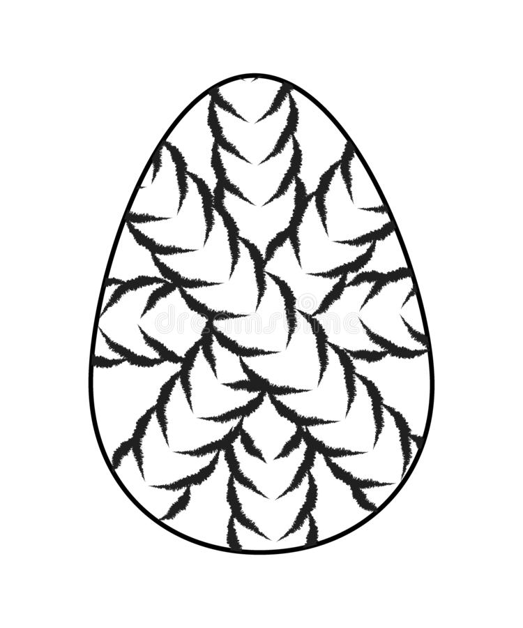 Γραπτό αυγό Πάσχας Εικονίδιο αυγών ύφος που διακοσμείται στο επίπεδο με τη διατομή των σχοινιών απεικόνιση αποθεμάτων