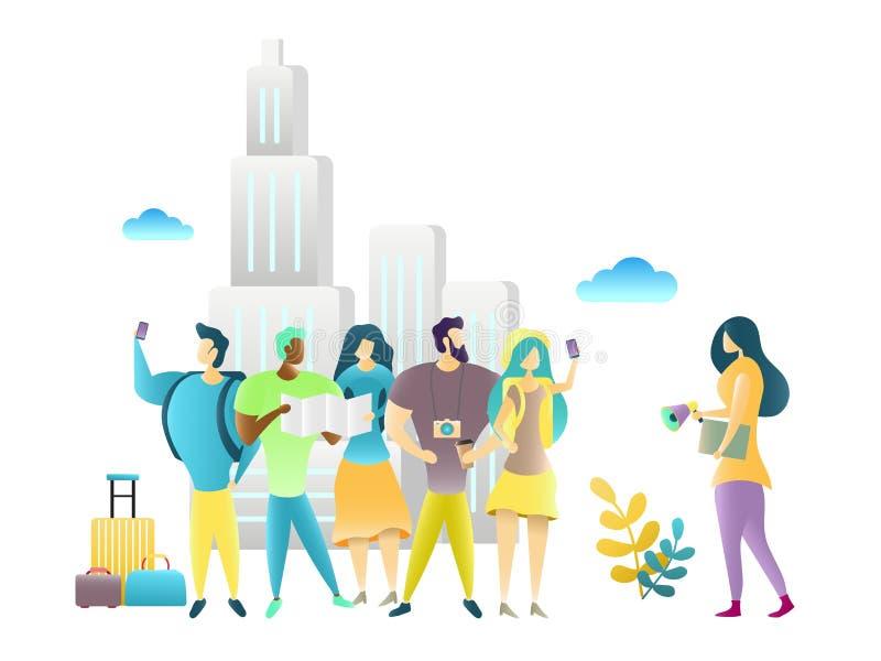 Γύρος πόλεων με τον οδηγό ταξιδιού, διανυσματική απεικόνιση ελεύθερη απεικόνιση δικαιώματος